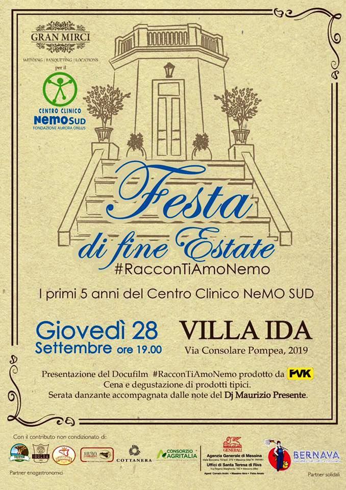 """Centro NeMO SUD Messina, giovedì sera """"Festa di Fine Estate"""" a Granatari"""