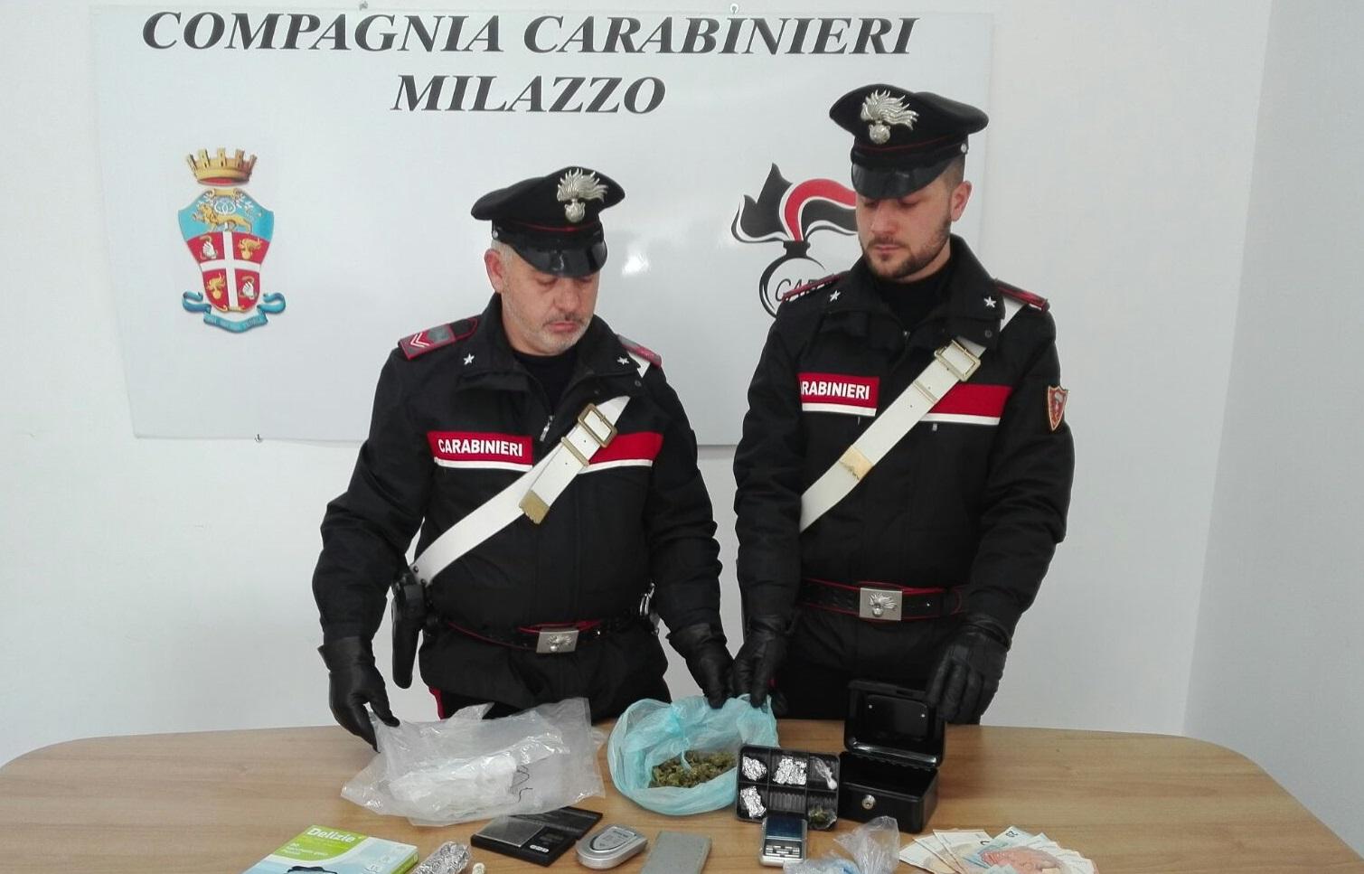 Spaccio di stupefacenti, due arresti ed una denuncia dei carabinieri di Milazzo